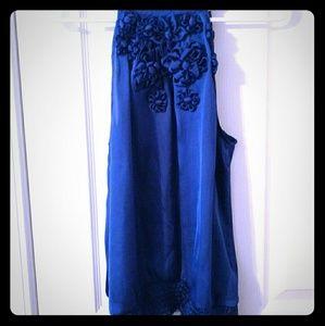 Tops - Royal blue high collar top